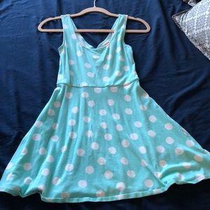 Light blue dress w/ large white polka dots